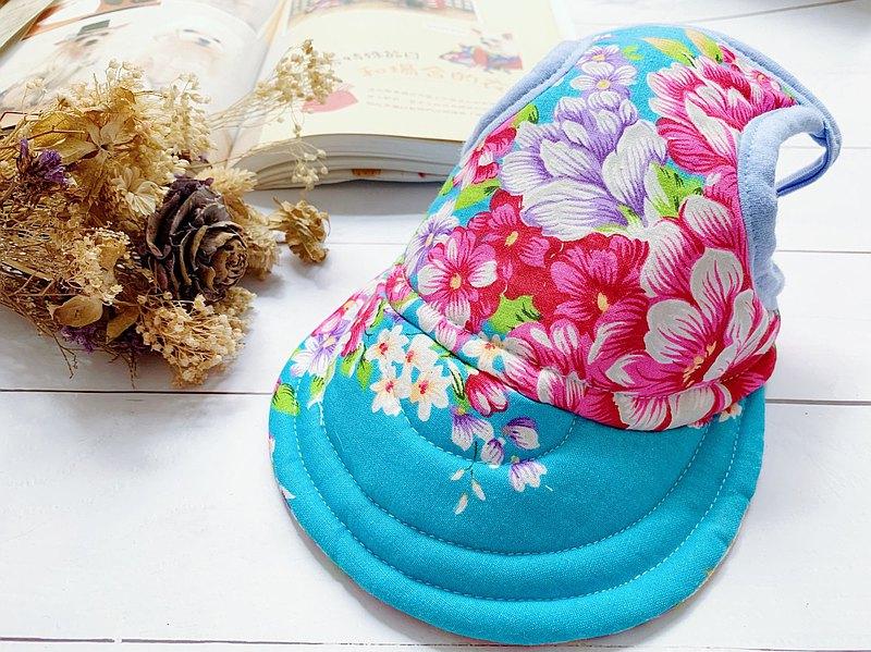 藍色大花 翻帽遮陽帽XL