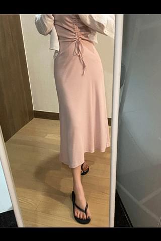 韓國空運 - Slim & Glam Shirring Long Dress 長洋裝