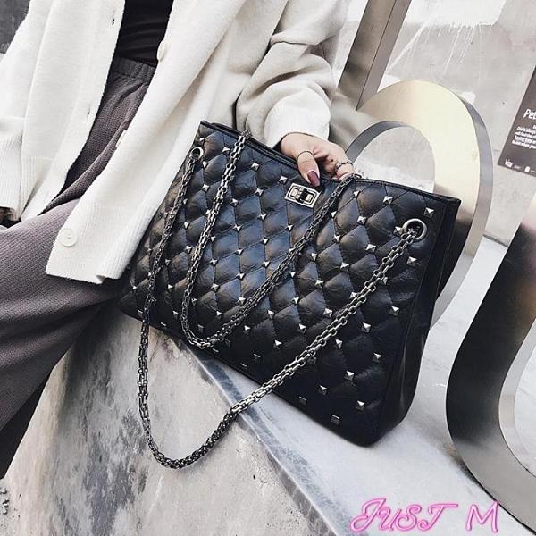 鉚釘包包包女2021新款韓版斜背女包菱格包chic時尚鍊條鉚釘側背手提大包 JUST M