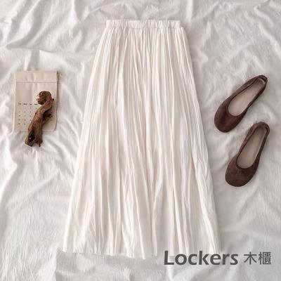 Lockers 木櫃 韓版流行女學生百褶裙鬆緊高腰A字半身裙子#11042301-3色-預