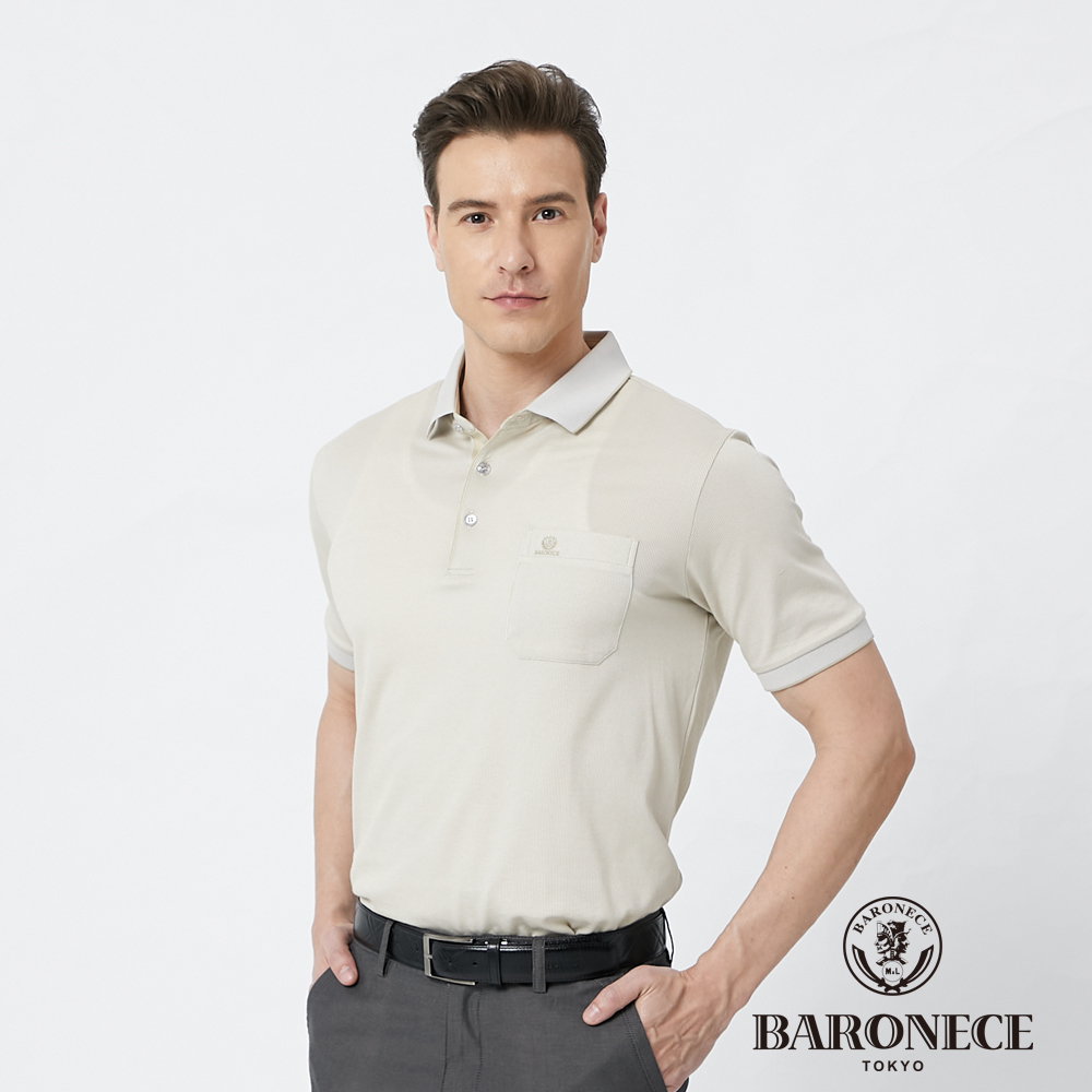 【BARONECE 百諾禮士】男裝棉質混紡細直條短袖polo衫--卡其色 (1188293-84)