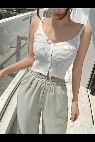 韓國空運 - Wave-on cropped sleeveless top 無袖