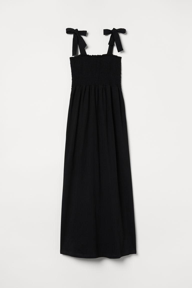 H & M - MAMA 縮褶及地長洋裝 - 黑色