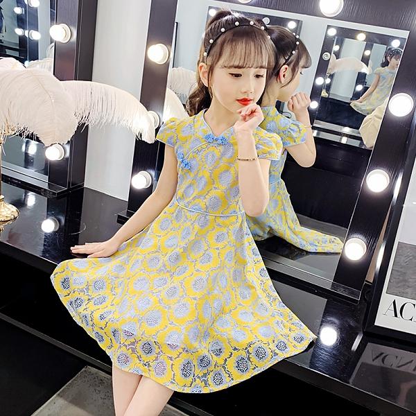 兒童洋裝 女童夏裝連身裙2021新款兒童裝漢服女孩夏季洋氣網紅蕾絲旗袍裙子 童趣屋