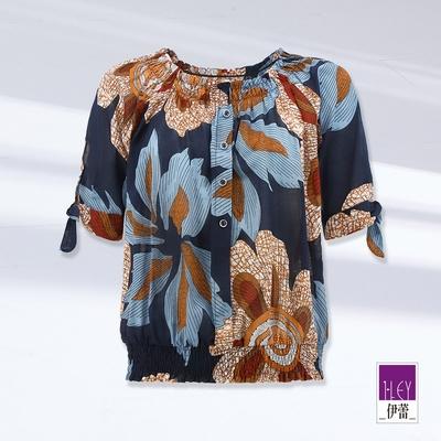 ILEY伊蕾 民俗女神花朵鬆緊造型上衣(深藍)1212201404