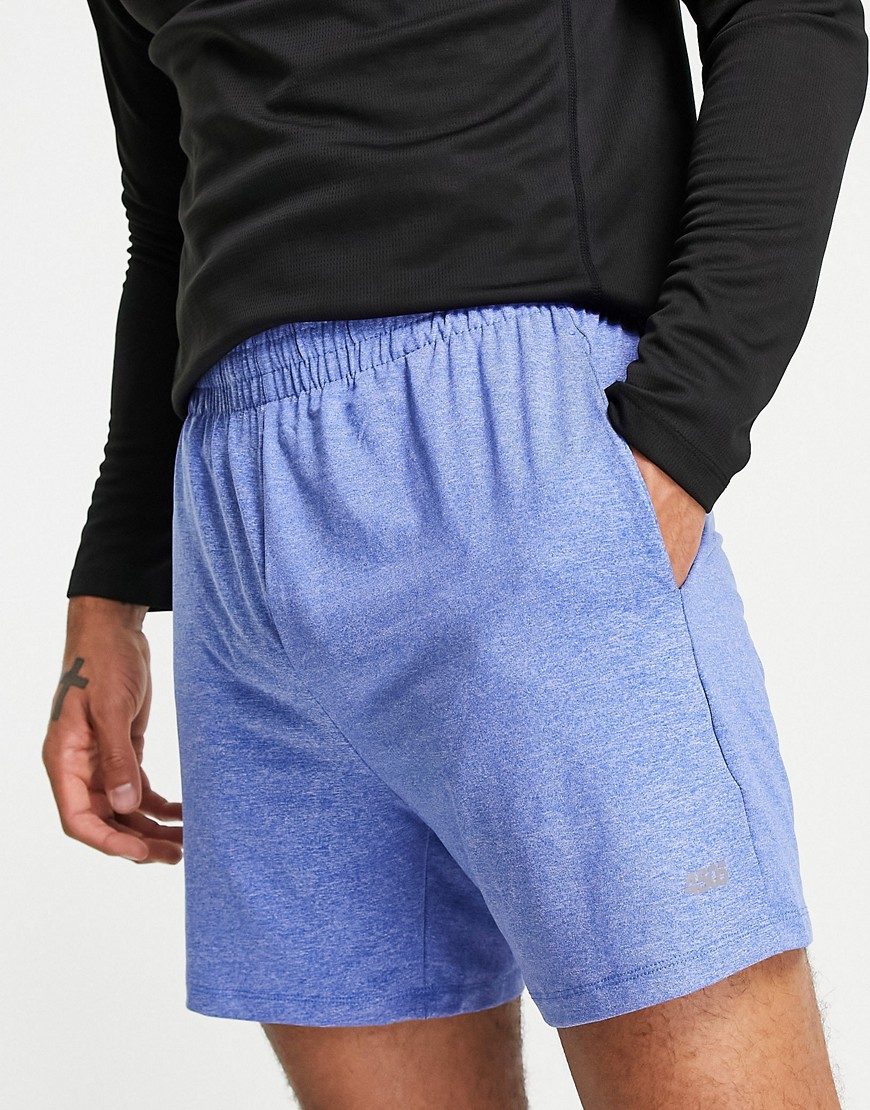 ASOS 4505 icon jersey training short in blue twist marl
