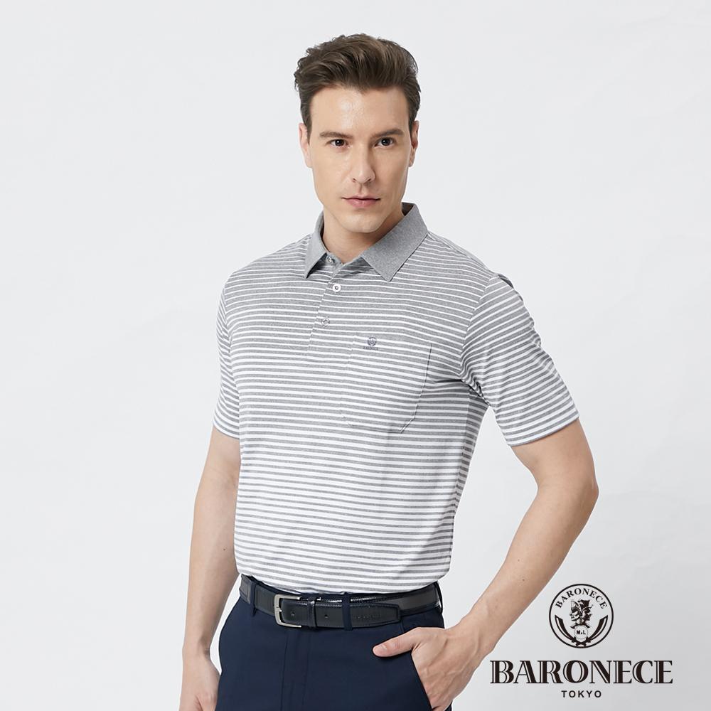 【BARONECE 百諾禮士】男裝吸濕排汗條紋短袖polo衫--灰色 (1188282-96)