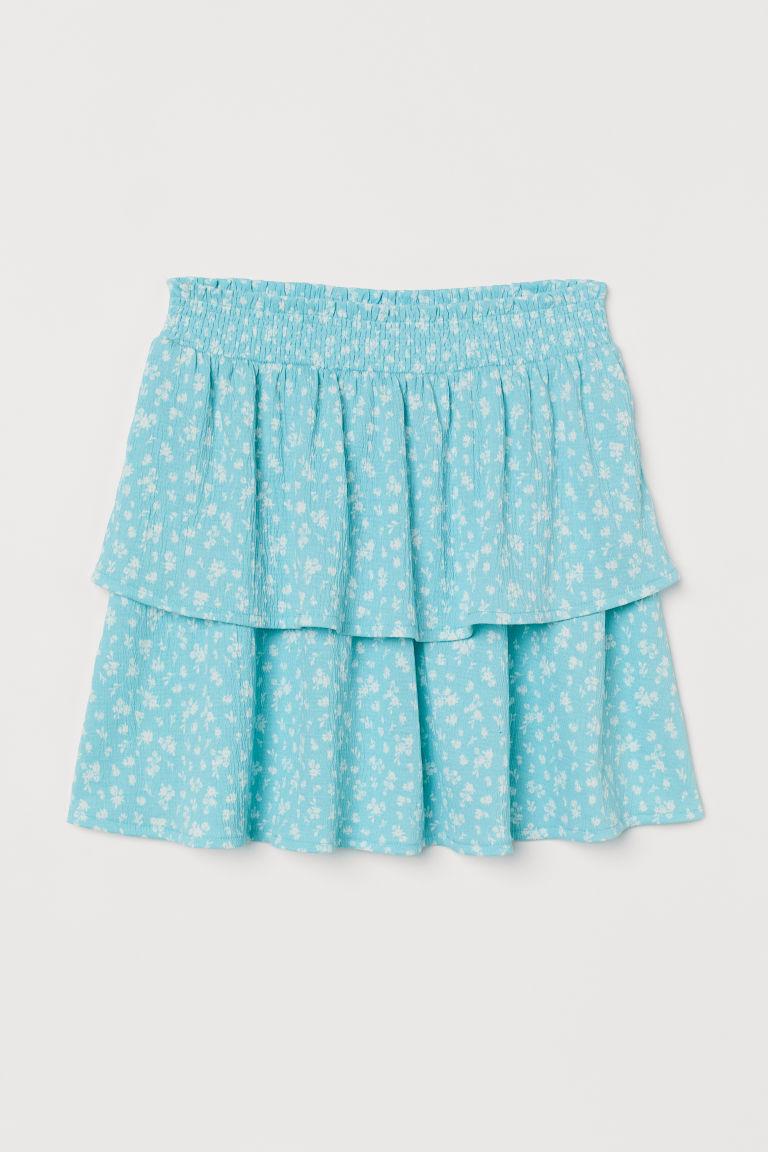 H & M - 荷葉邊短裙 - 藍綠色