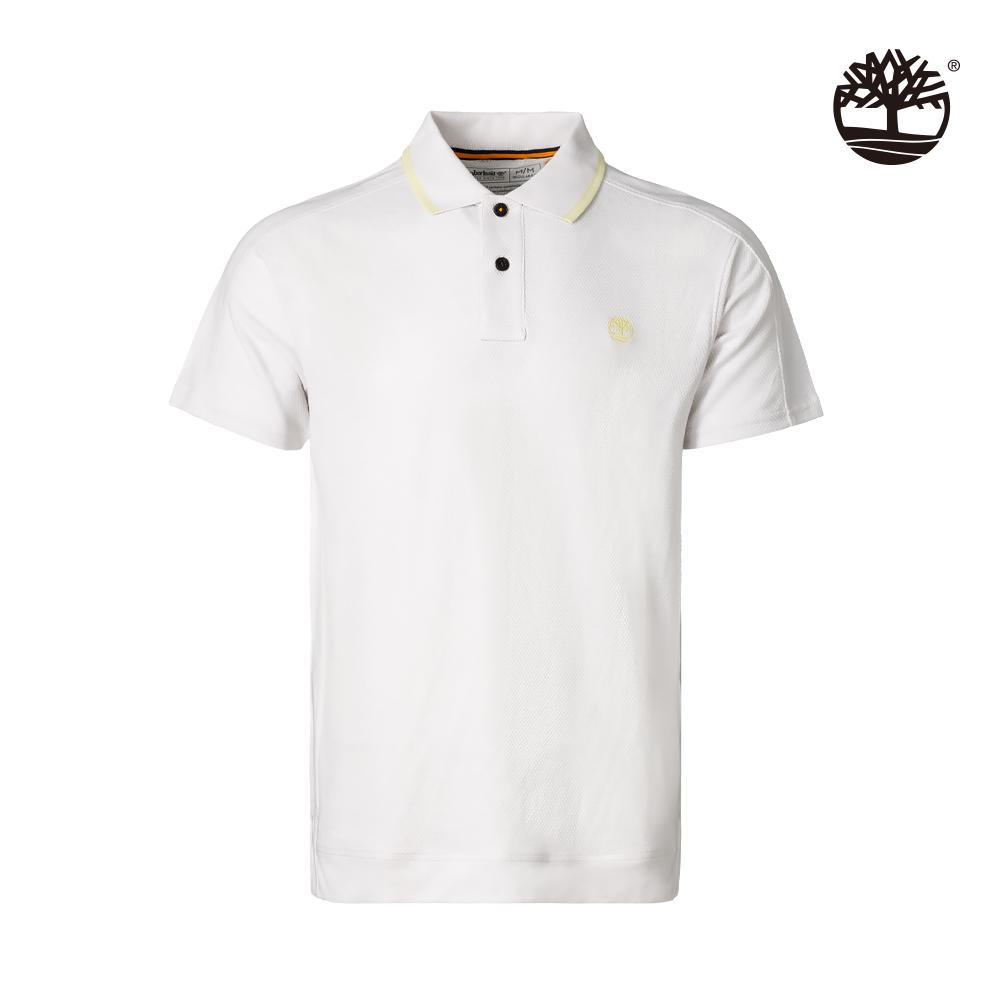 Timberland 男款白色有機棉吸濕排汗短袖POLO衫|A2E1Z100