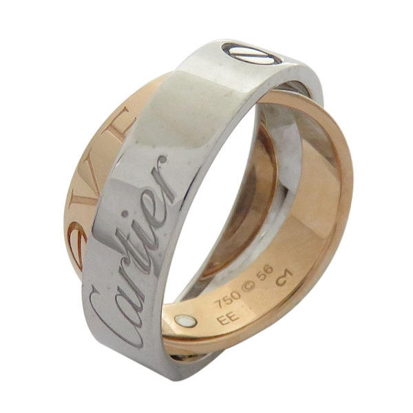 Cartier 卡地亞 LOVE 18K白金玫瑰金雙色戒指 Secret Ring #56【二手名牌 BRAND OFF】