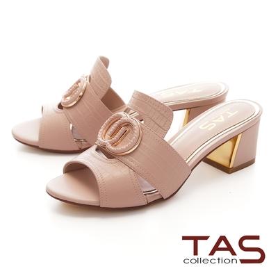 TAS金邊飾釦鏤空壓紋羊皮高跟涼拖鞋-浪漫粉