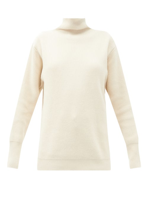 Jil Sander - High-neck Ribbed Recycled-cotton Sweater - Womens - Cream