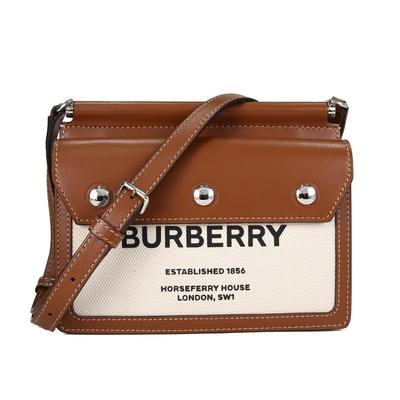 BURBERRY Horseferry 印字帆布拼接皮革雙口袋斜背包Brown(米白棕)