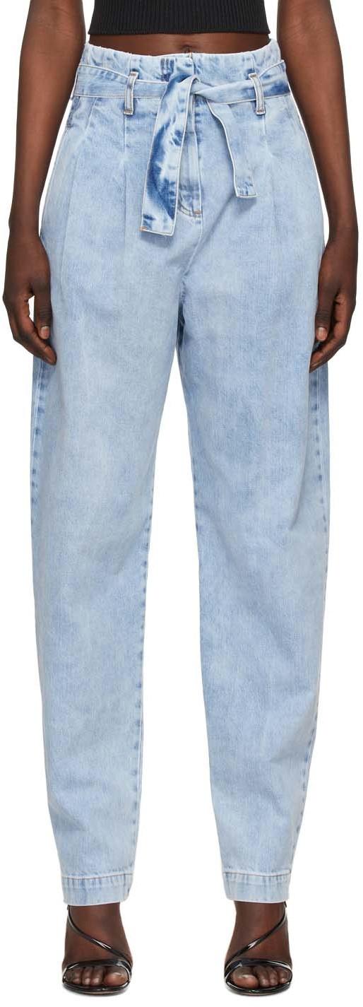 Wandering 蓝色 Paperbag 牛仔裤