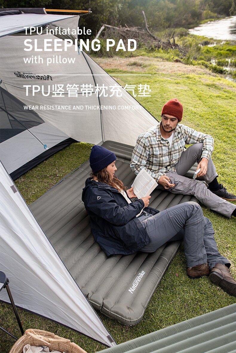 Naturehike挪客豎管帶枕充氣墊便攜氣墊床加厚9公分露營防潮墊 尼龍TPU 耐磨防水 雙層氣閥
