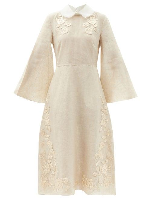 Fendi - Floral-appliqué Linen Midi Dress - Womens - Beige