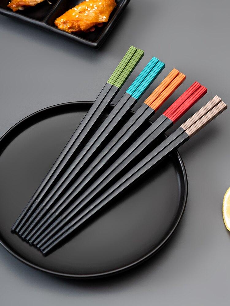 合金筷彩色防滑防霉抗菌防潮家用筷子一人一色餐具日式快子耐高溫