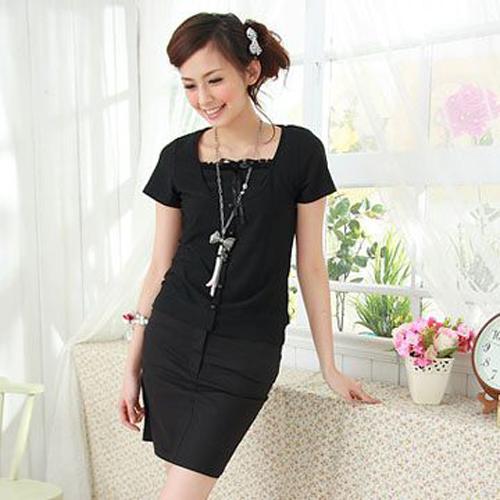 短裙--OL系美人黑色素面低腰膝上短窄裙(S-5L)-K08眼圈熊中大尺碼