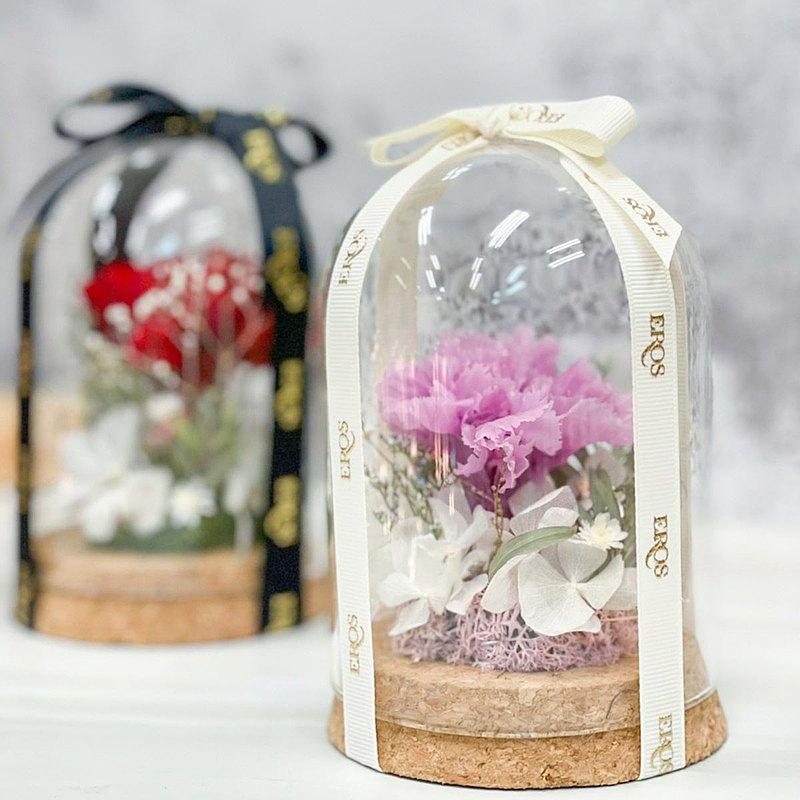 永生花玻璃罩盅 溫柔的堅強康乃馨 玻璃罩 客製不凋花玫瑰花花禮