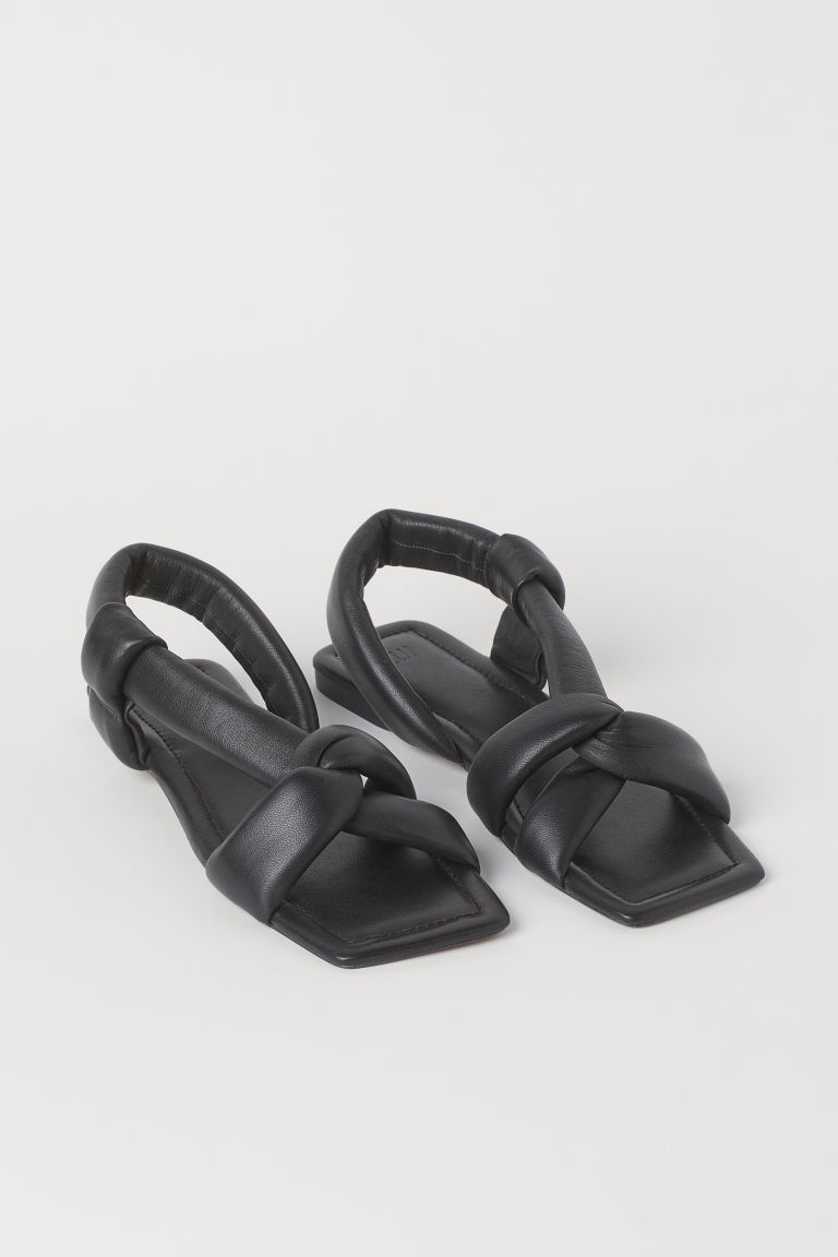 H & M - 真皮涼鞋 - 黑色