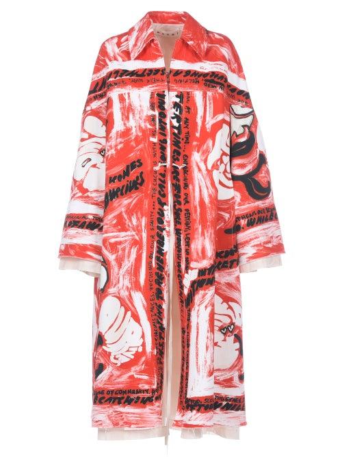 Marni - Type-print Double-layered Twill Coat - Womens - Red Print