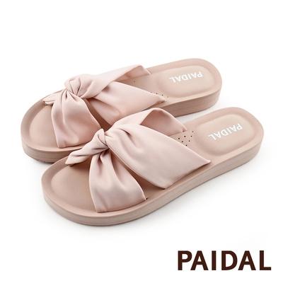 Paidal 甜美粉扭結花鞋面厚底拖鞋涼鞋