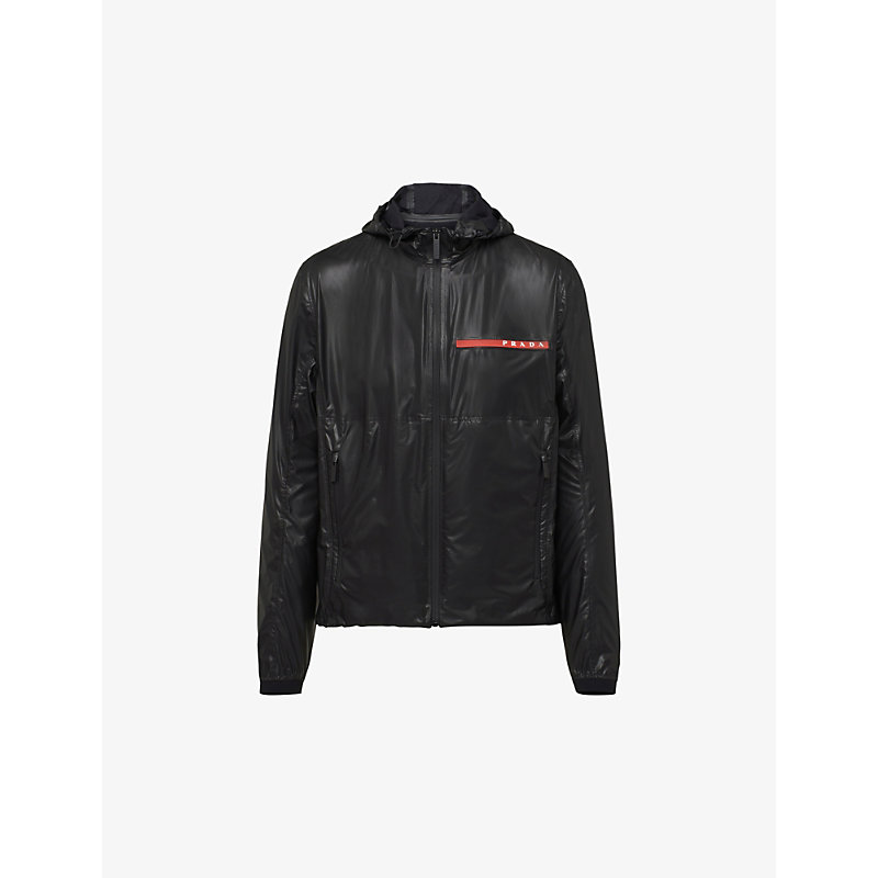 Drawstring-waistband woven hooded blouson jacket