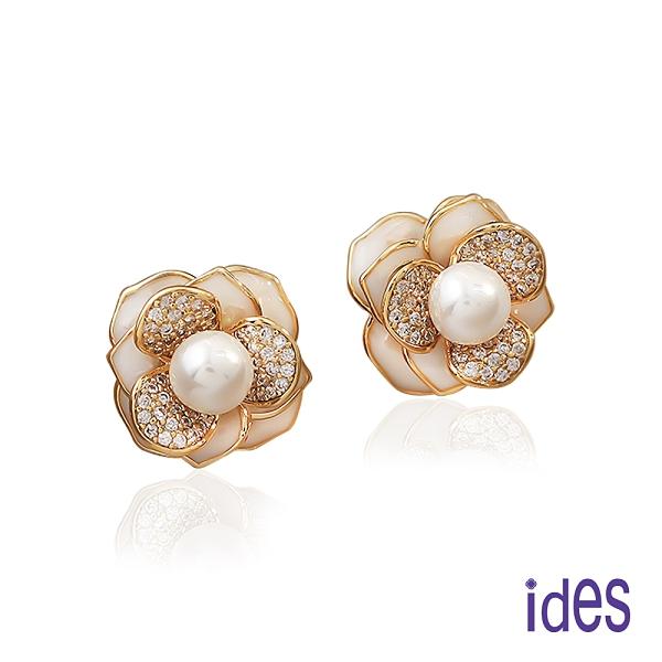 ides愛蒂思 時尚輕珠寶淡水貝珠晶鑽耳環/花漾