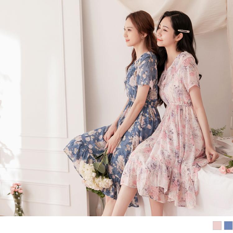 雪紡花卉印花V領腰鬆緊長洋裝