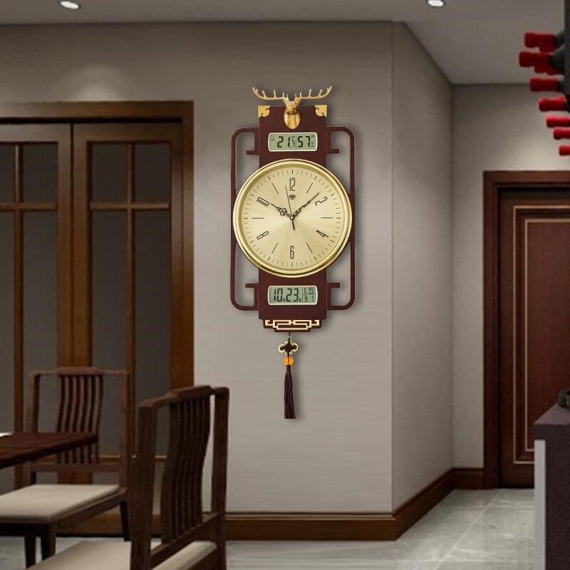 掛鐘 新中式掛鐘客廳家用時尚實木個性大氣中國風時鐘創意鹿頭純銅鐘表【居家家】GZ21
