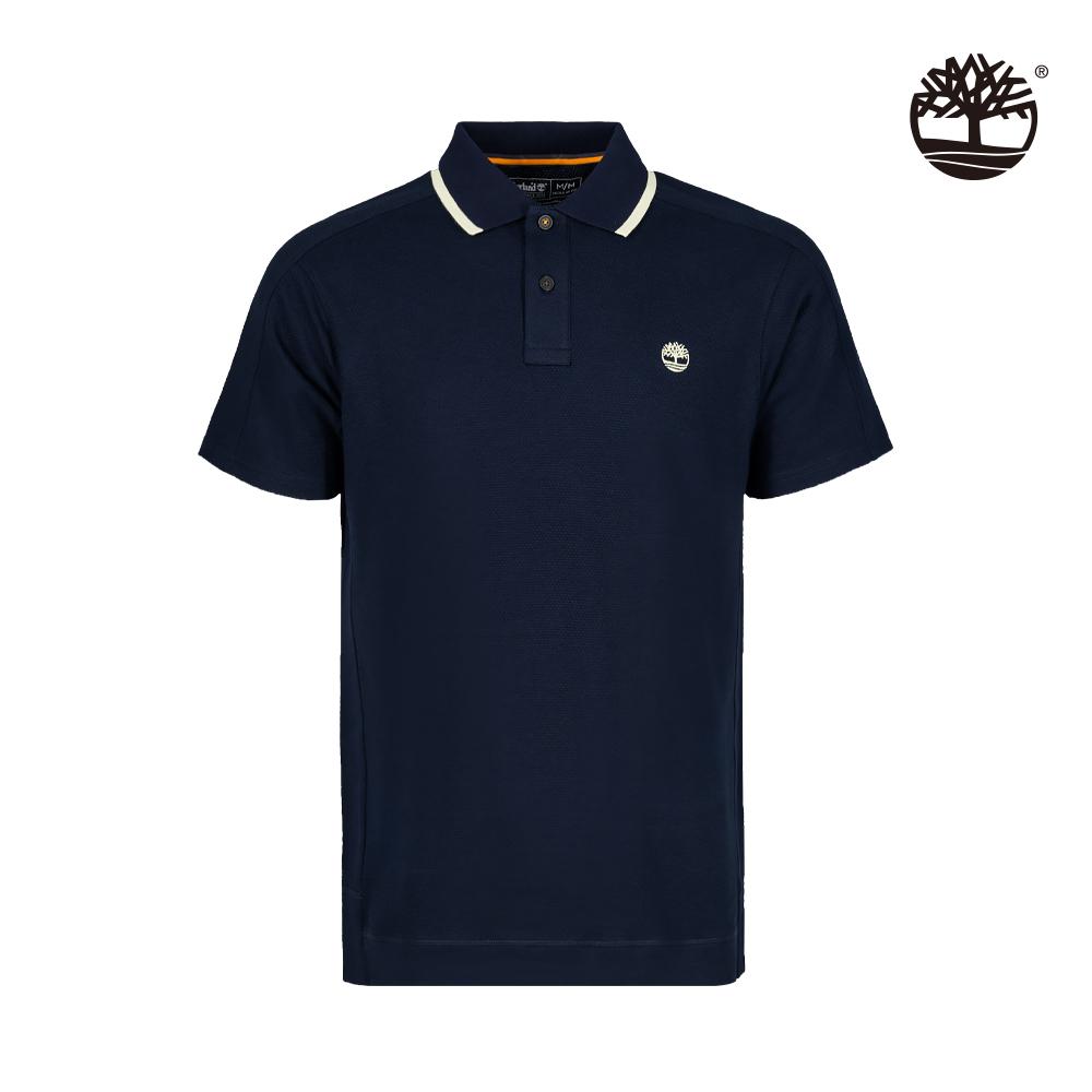 Timberland 男款深寶石藍色有機棉吸濕排汗短袖POLO衫 A2E1Z433