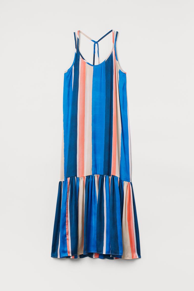 H & M - 綁帶及地長洋裝 - 藍色