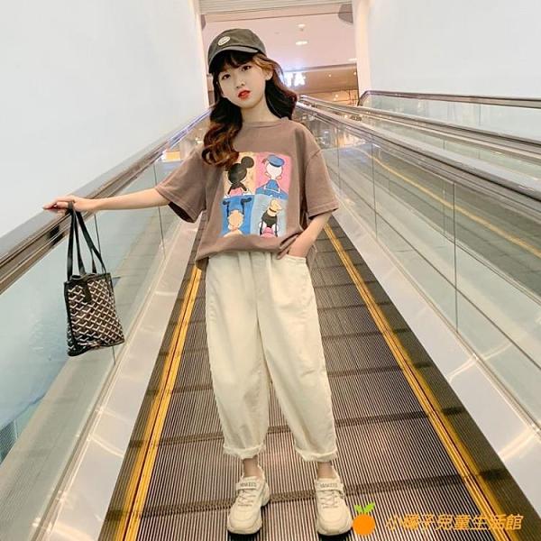 女童短袖t恤夏裝新款韓版洋氣網紅兒童裝中大童夏季寬松上衣【小橘子】