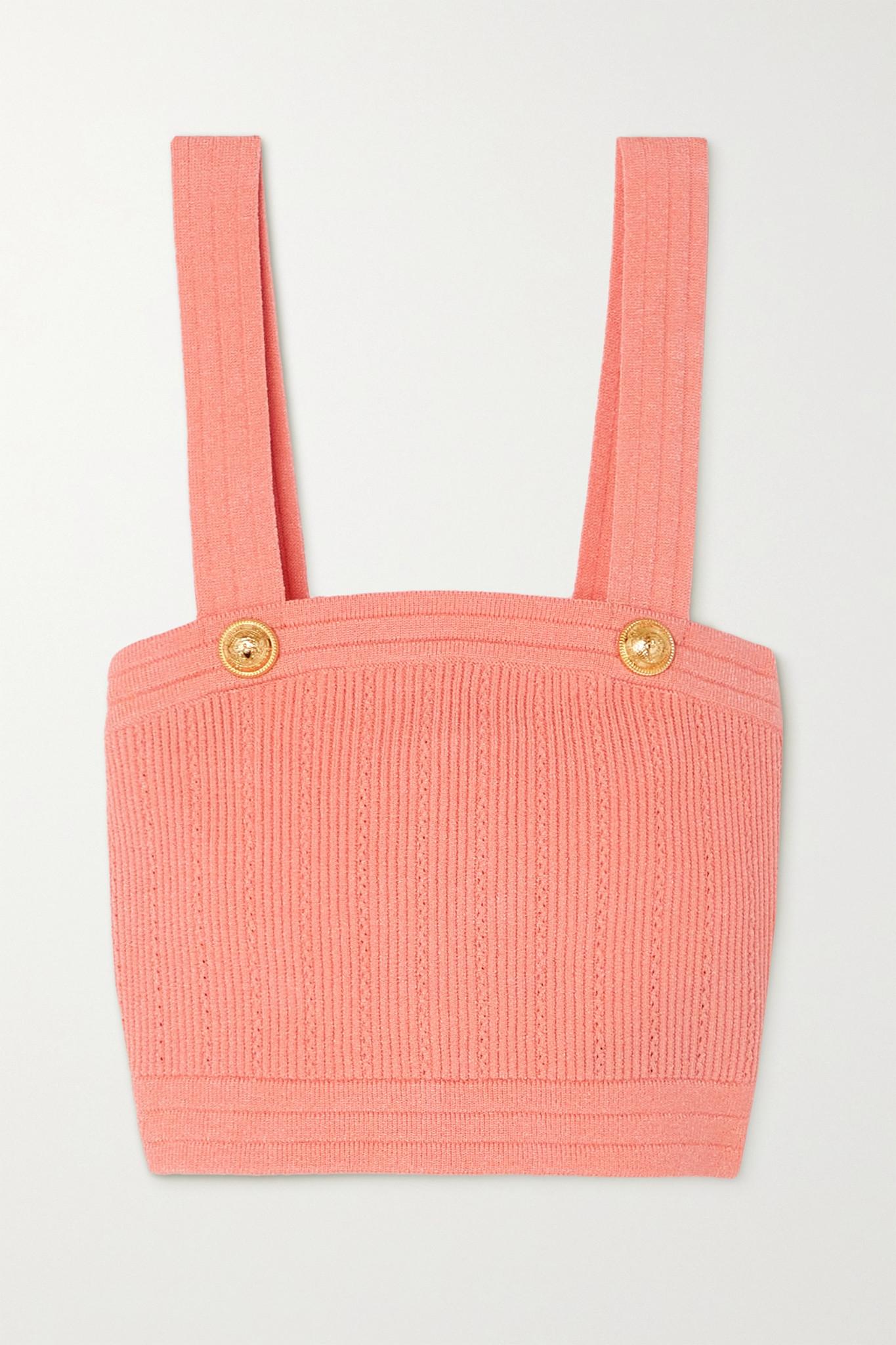 BALMAIN - Button-embellished Cropped Ribbed-knit Top - Orange - FR36