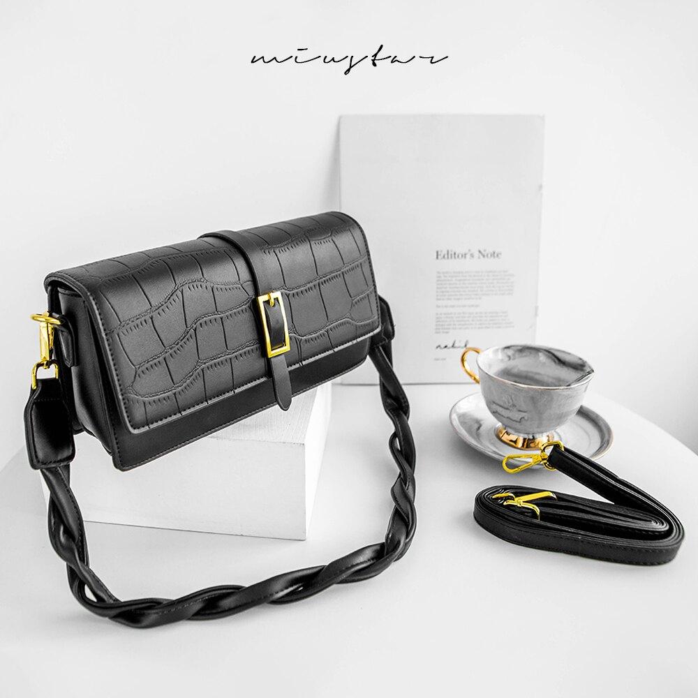 MIUSTAR 雙背帶多夾層石頭壓紋方釦包(共1色)包包 0504 預購 【NJ1112】