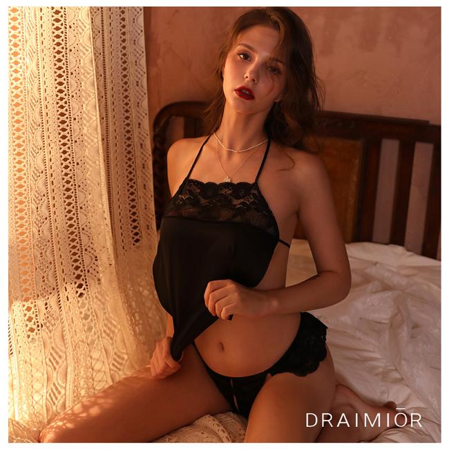 久慕雅黛 DRAIMIOR優雅蕾絲甜美肚兜睡衣。黑