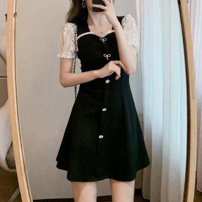 桃心領拼接蕾絲透紗小黑裙洋裝S-XL-Dorri