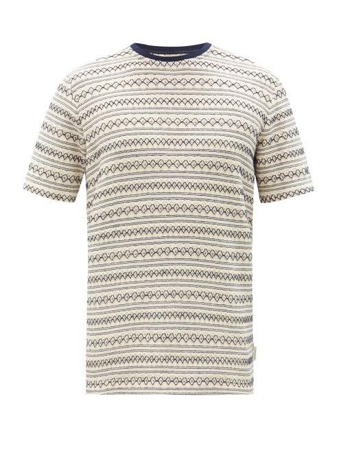 Oliver Spencer - Conduit Diamond-jacquard Cotton-jersey T-shirt - Mens - Navy Multi