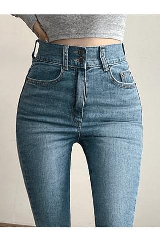 韓國空運 - High two-button skinny on the waist 牛仔褲