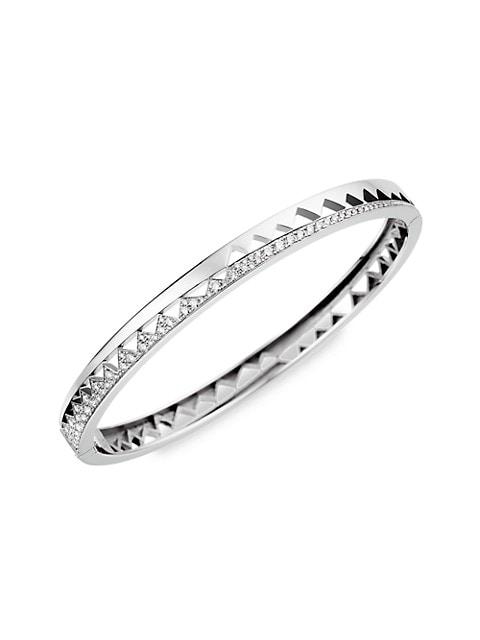 Capture Me 18K White Gold & Half-Set Diamond Bangle Bracelet