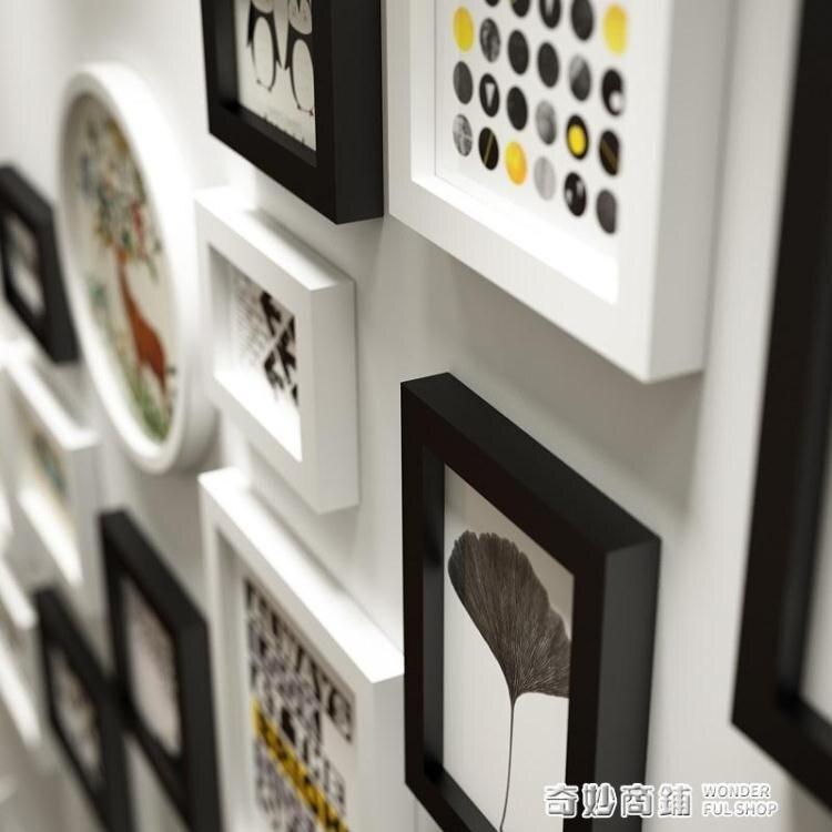 簡約現代樓梯實木相框組合復式公寓背景創意掛牆照片牆組合免打孔 夏沐生活