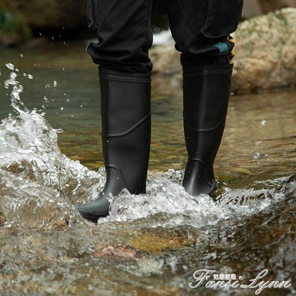 雨鞋高筒男士雨靴時尚加厚釣魚男款防水中筒套鞋加絨勞保膠鞋水鞋 范思蓮恩