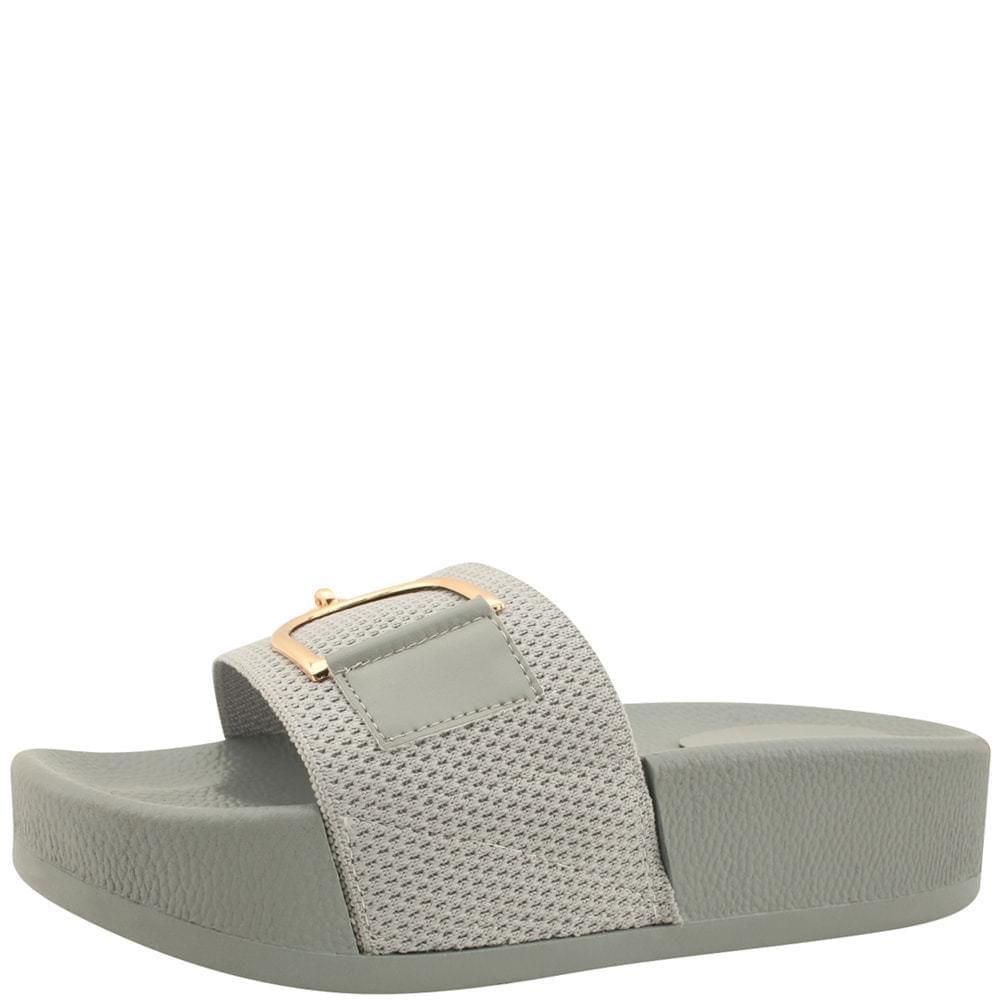 韓國空運 - Metal Chain High Heel Slippers Gray 涼鞋