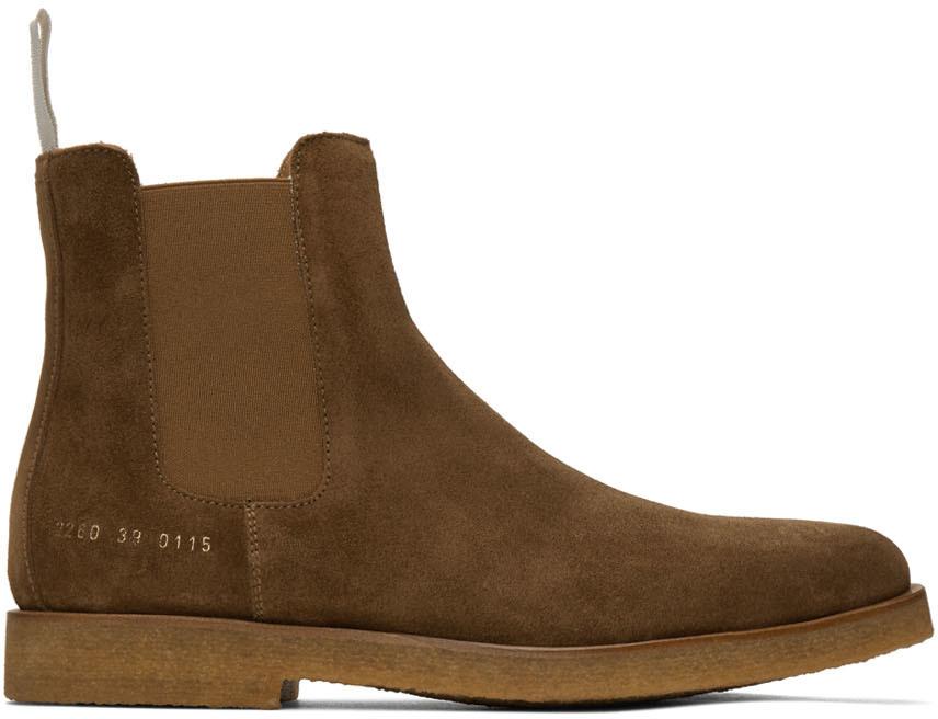 Common Projects 棕色绒面革切尔西靴