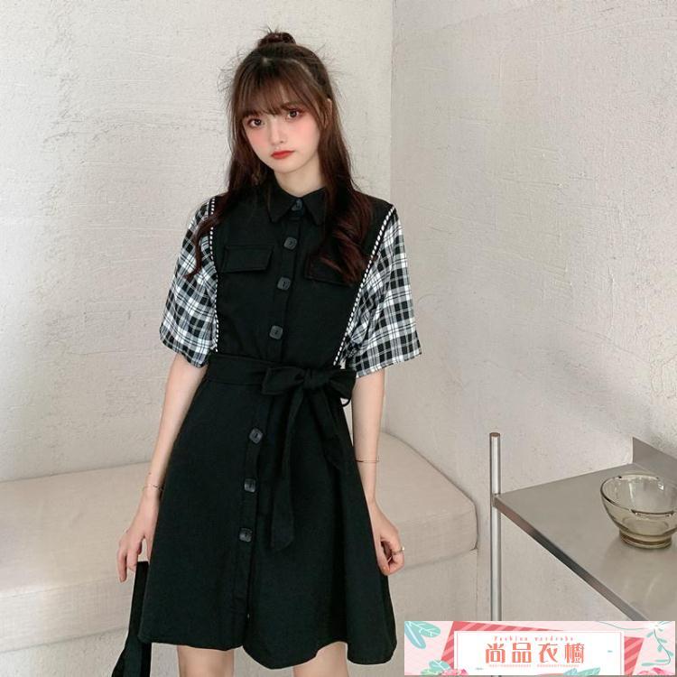 短袖洋裝微胖女生穿搭新款裙子韓版女裝系帶格子拼接遮肚子顯瘦短袖連身裙