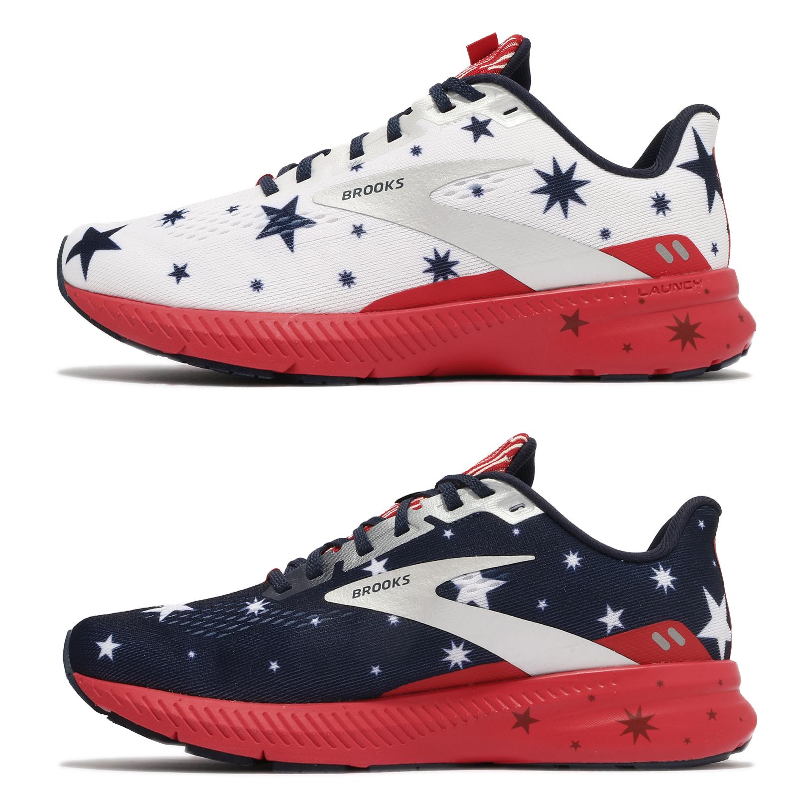 Brooks 慢跑鞋 Launch 8 Run USA D 寬楦 白 深藍 紅 女鞋【ACS】 1203451D421
