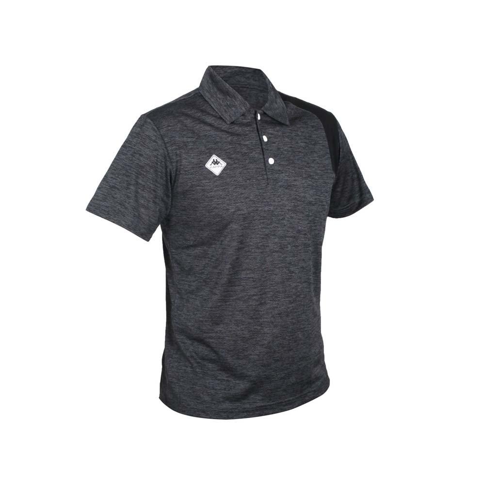 KAPPA 男K4T短袖POLO衫-台灣製 慢跑 高爾夫 網球 吸濕排汗 上衣 麻花灰黑