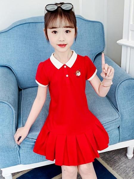 兒童洋裝 女童純棉連身裙夏裝2021新款洋氣網紅兒童裝中大童夏季學院風裙子 童趣屋