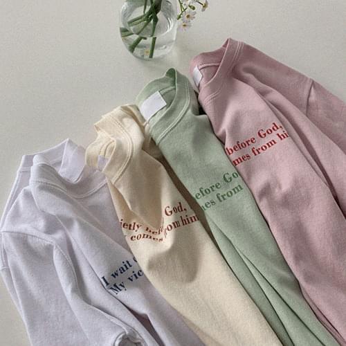 韓國空運 - 配色印字圓領短袖T恤 短袖上衣