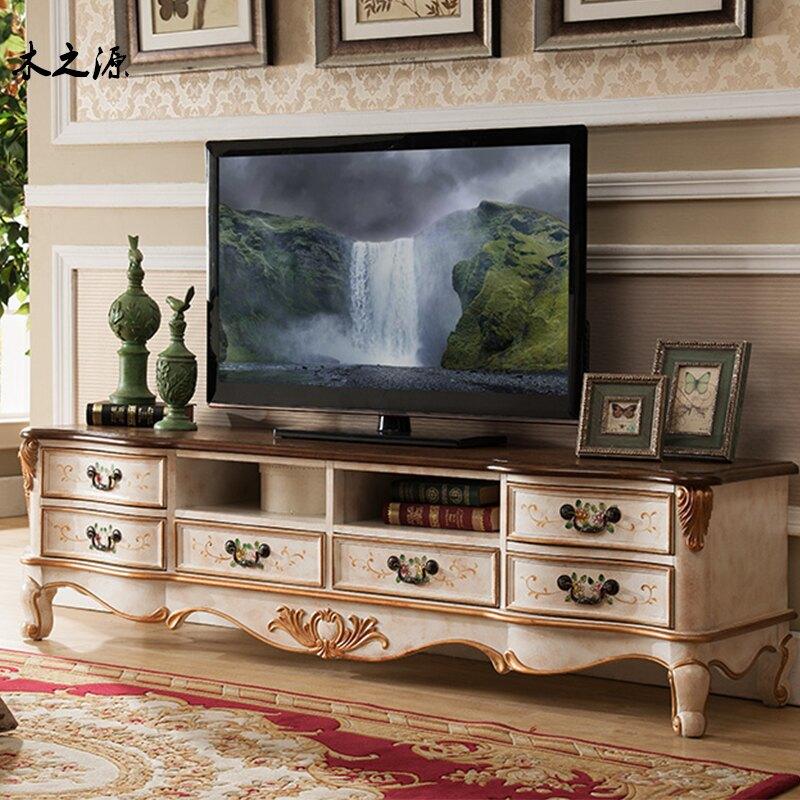 電視櫃 美式實木彩繪復古鄉村藝術小戶型電視柜 茶幾 餐邊幾等組合包郵
